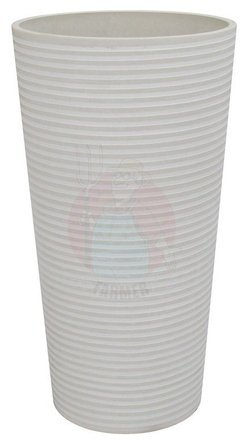 Composite flower pot, tall, white